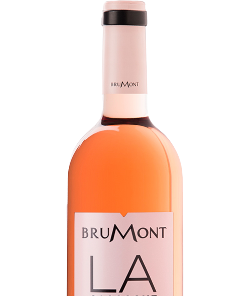 "Brumont rose wine label, pink with black san serif type. Very ""LA"" looking"