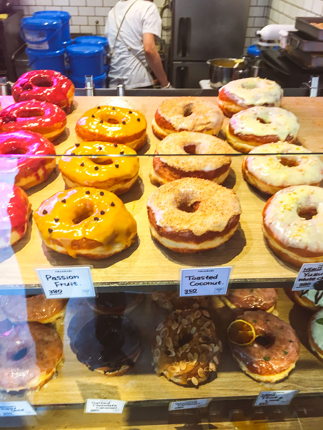 Passionfruit and Toasted coconut doughnuts at Dumbo Doughnuts Tokyo