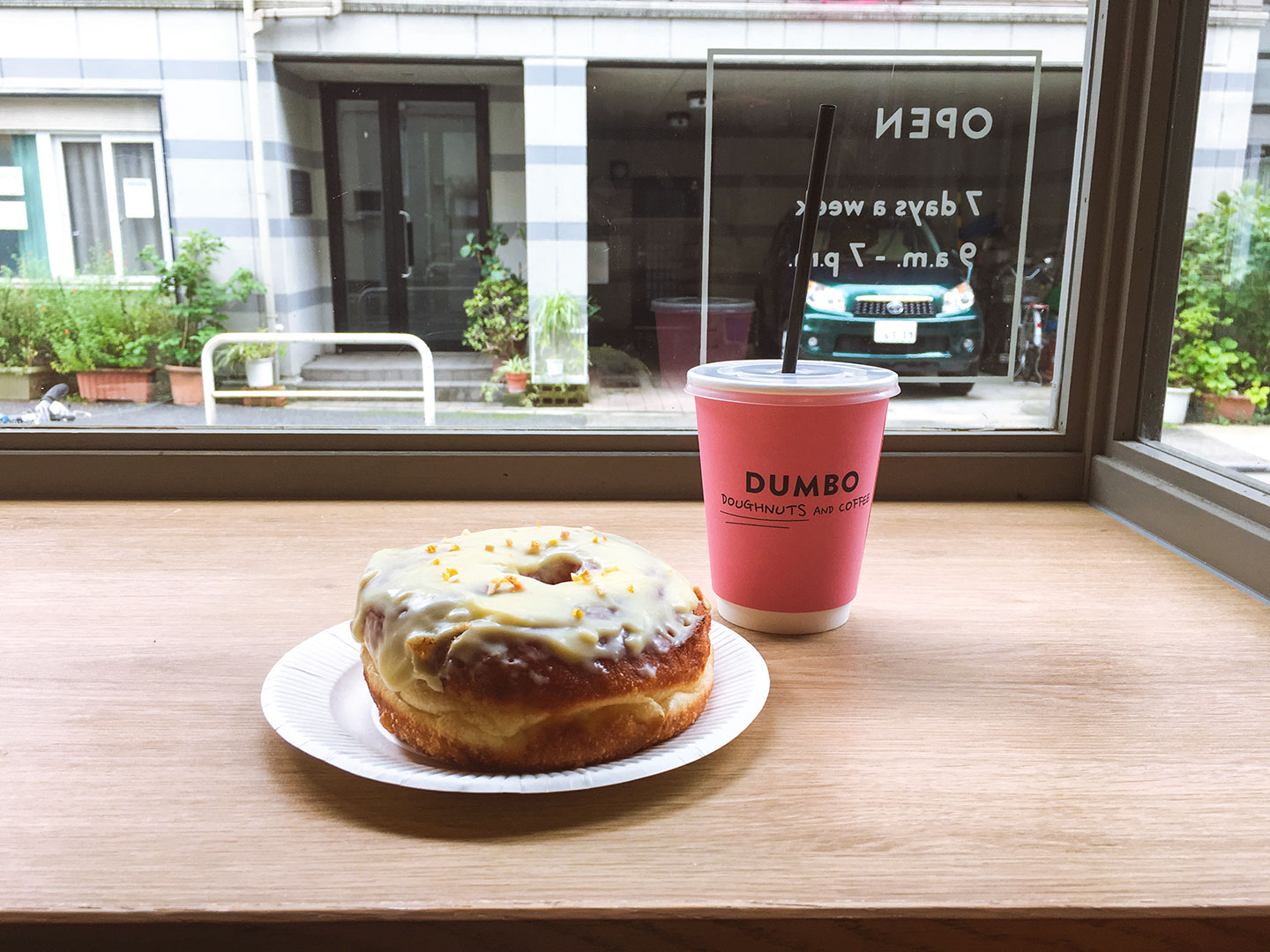 Yuzu frosted donut and iced coffee at Dumbo Doughnuts Tokyo