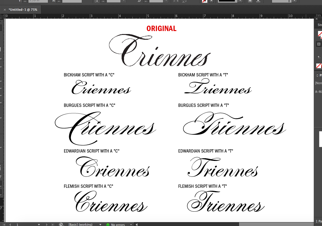"I compared swashy script capital ""C"" and ""T"" letters to show it looks like a ""C"" in ""Triennes"""
