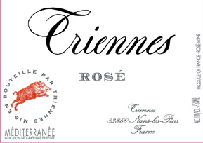 Triennes rose label (or is it Criennes)