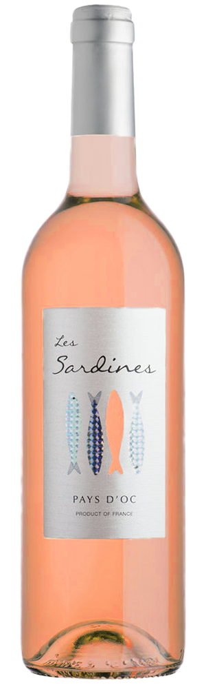 Les Sardines rose 2017 bottle and die-cut label