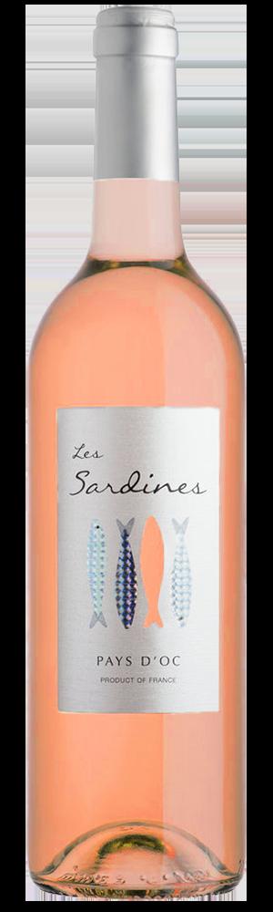 Les Sardines rose 2017 bottle and die-cut label
