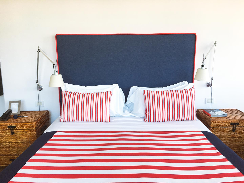 Nautically themed bed in the Junior suite La Minervetta Sorrento Italy