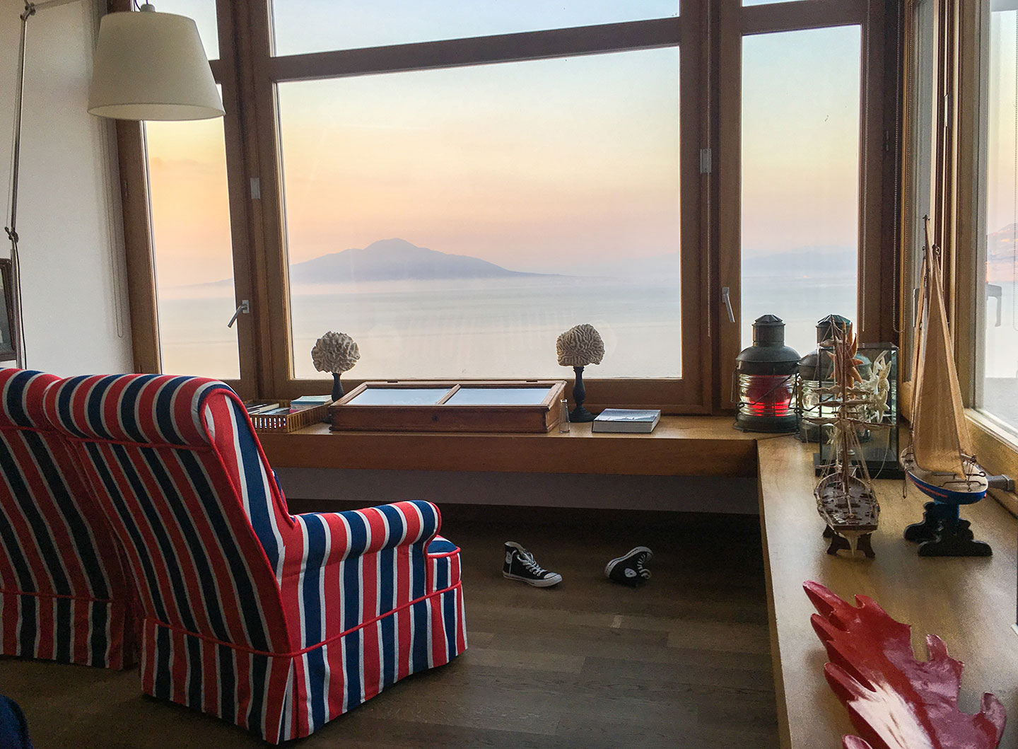 The junior suite overlooking the bay of Naples at the nautically themed Maison La Minervetta in Sorrento Italy