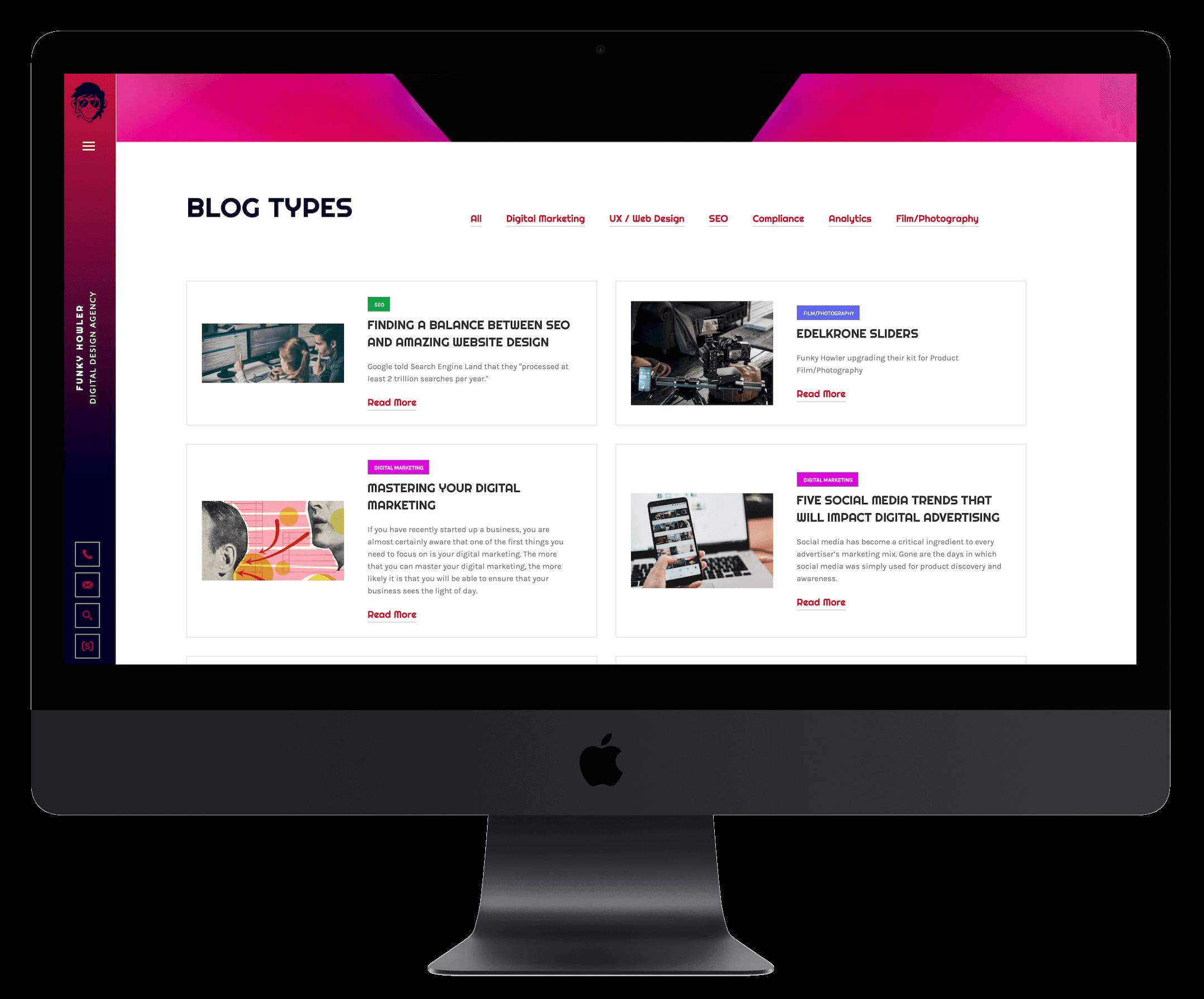 Blog Page Websites designed by Funky Howler