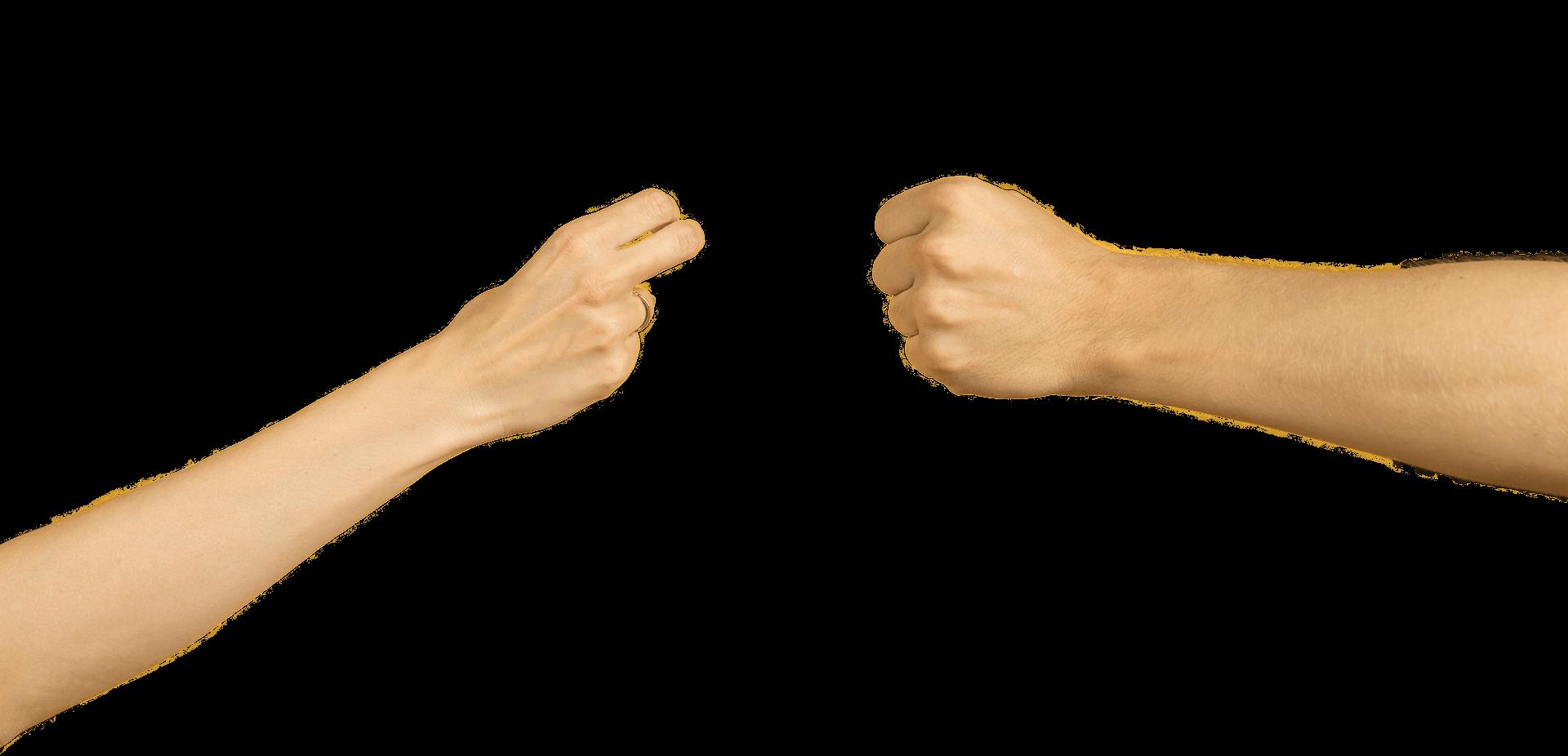 Photo of 2 hands making a snail shape, snail step 2