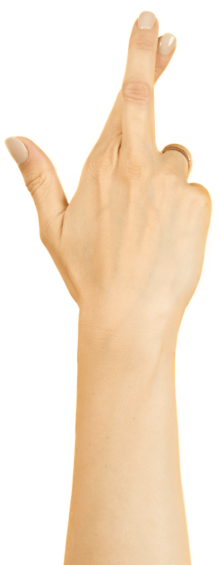 Photo of a hand with crossed fingers