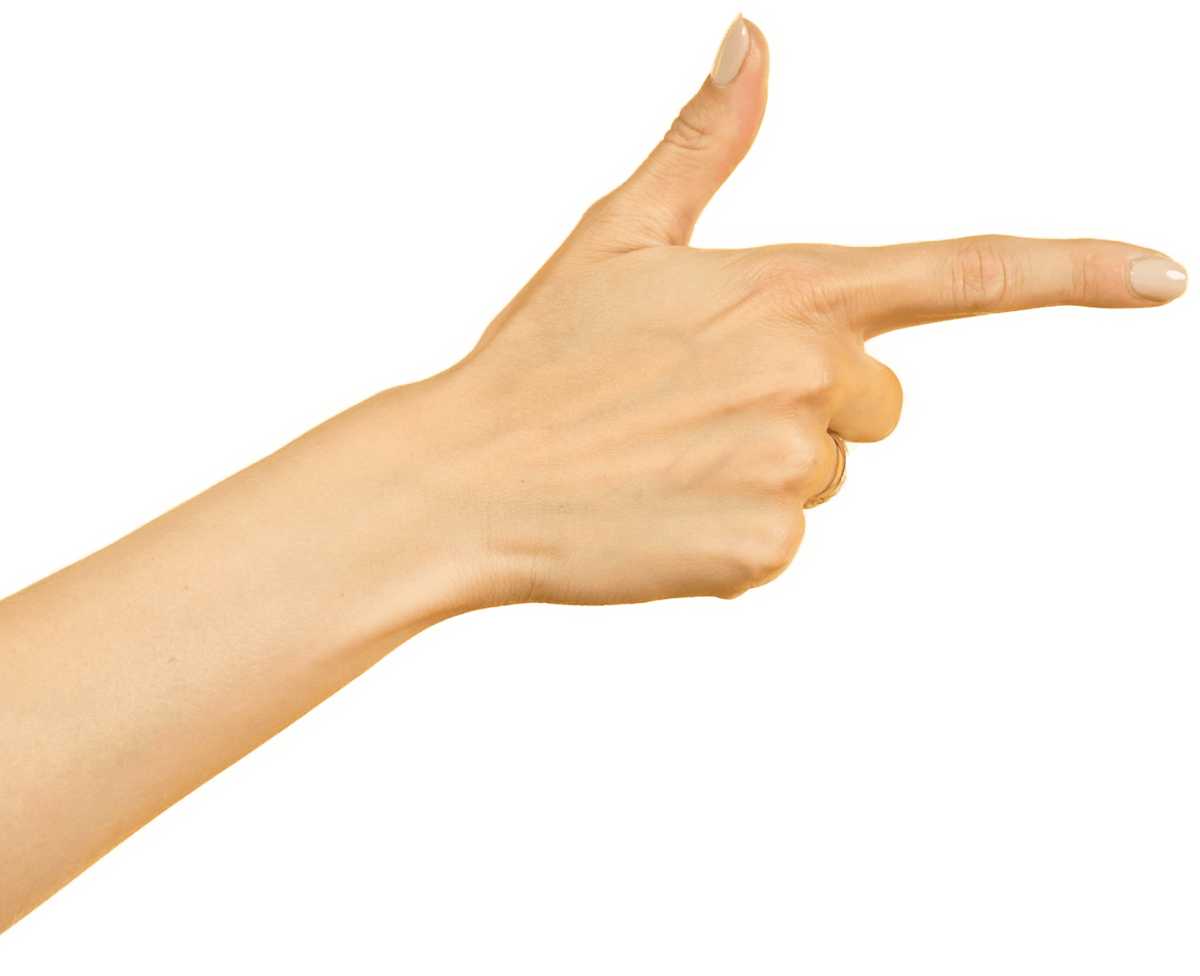 Photo of a hand pointing to right