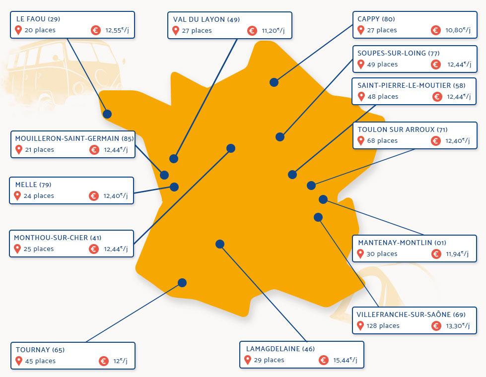 Carte de France des aires Camping de mon Village