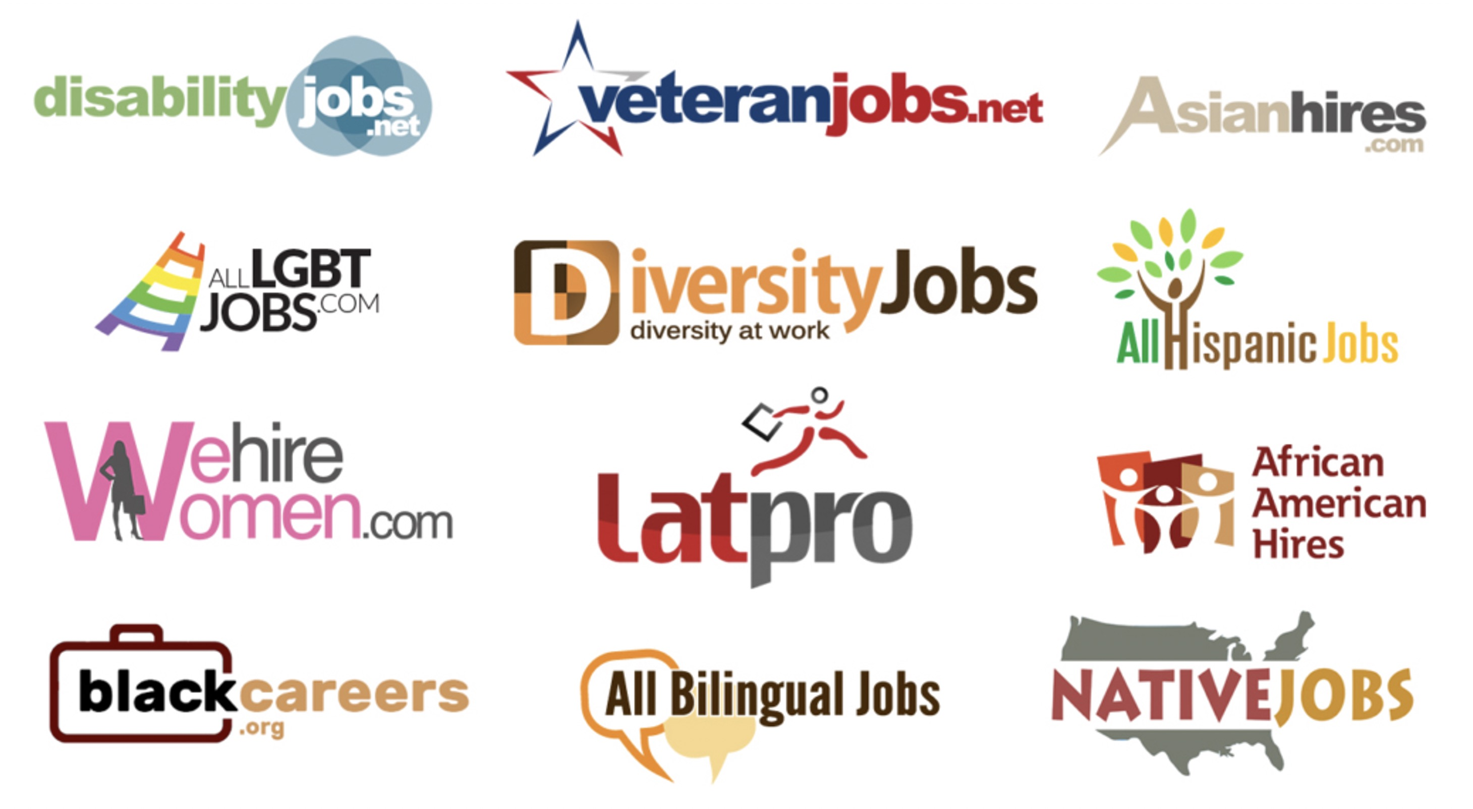 Grid of logos showing different job sites for various racial minorities and other kinds of groups, like disabilities, veterans, and LGBT