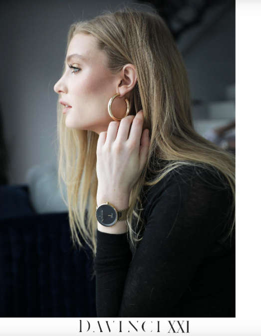 Bille Canning International model wears Davinci XXI personalized luxury watch