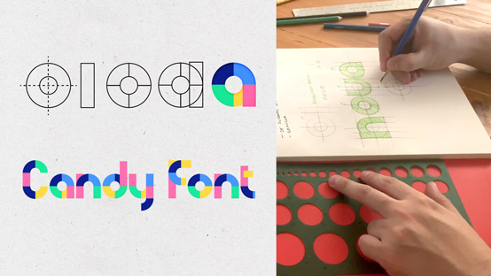 Font creation process for a chromatic typeface by Daniel Hosoya
