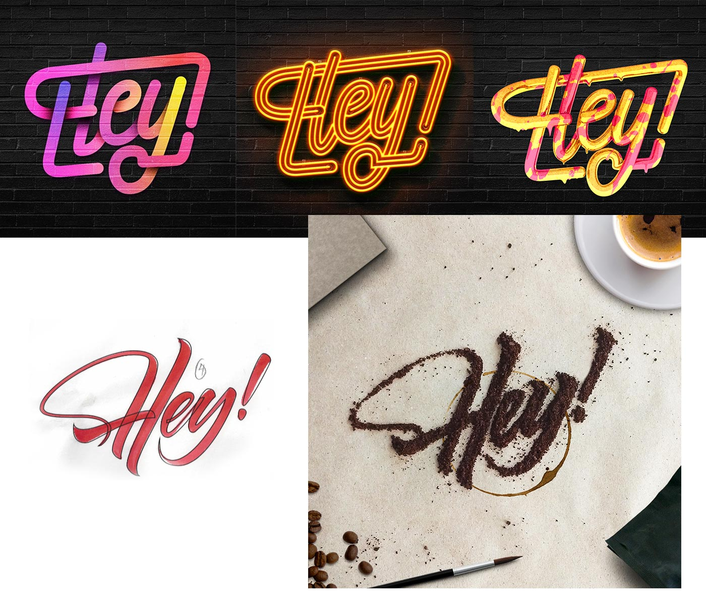 Lettering projects with neon, gradient, brush and coffee