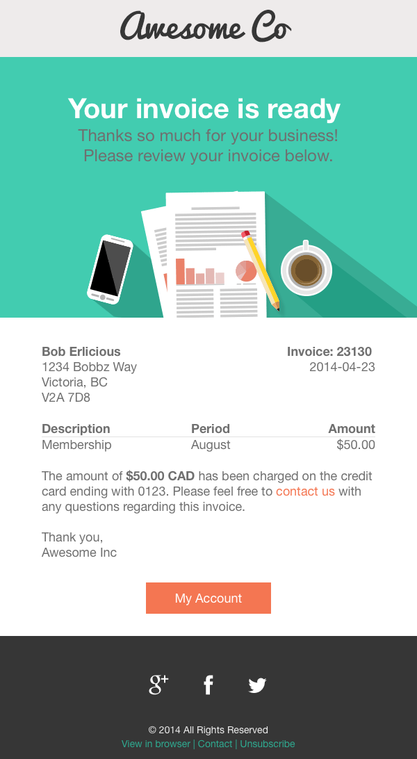 Theme: Airmail | Use case: Invoice