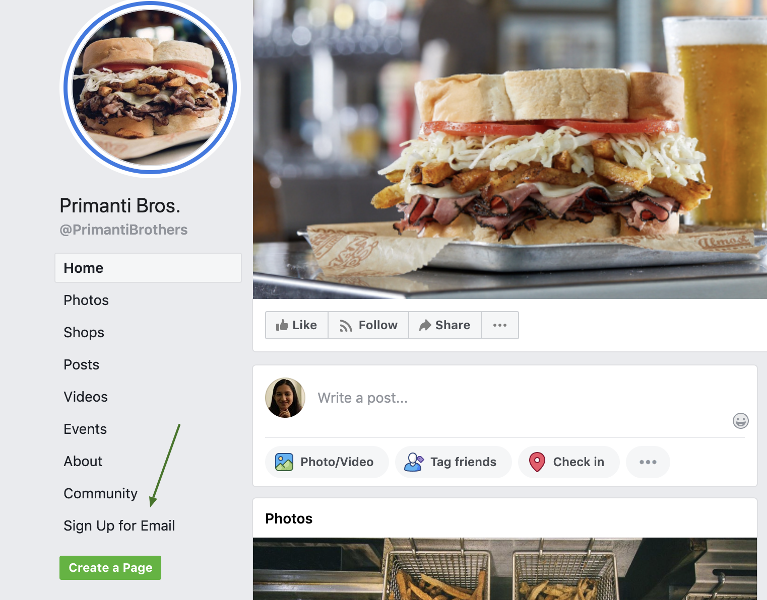 Using Facebook page for restaurant sign up