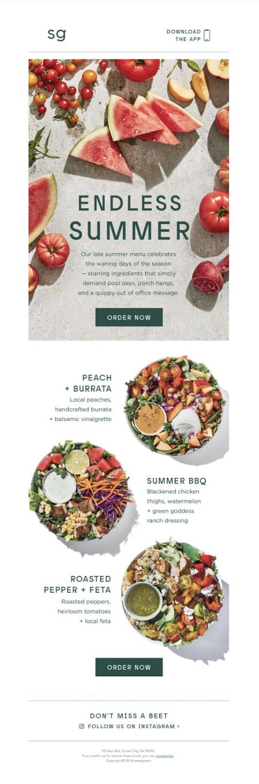 Restaurant menu updates email