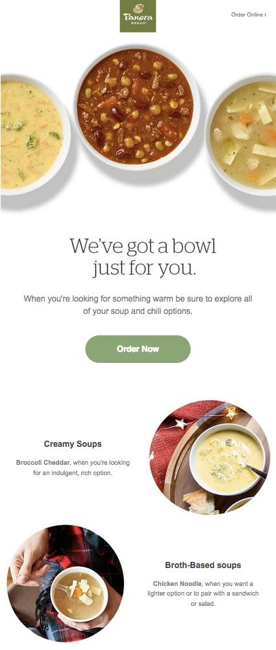 Visually captivating restaurant email