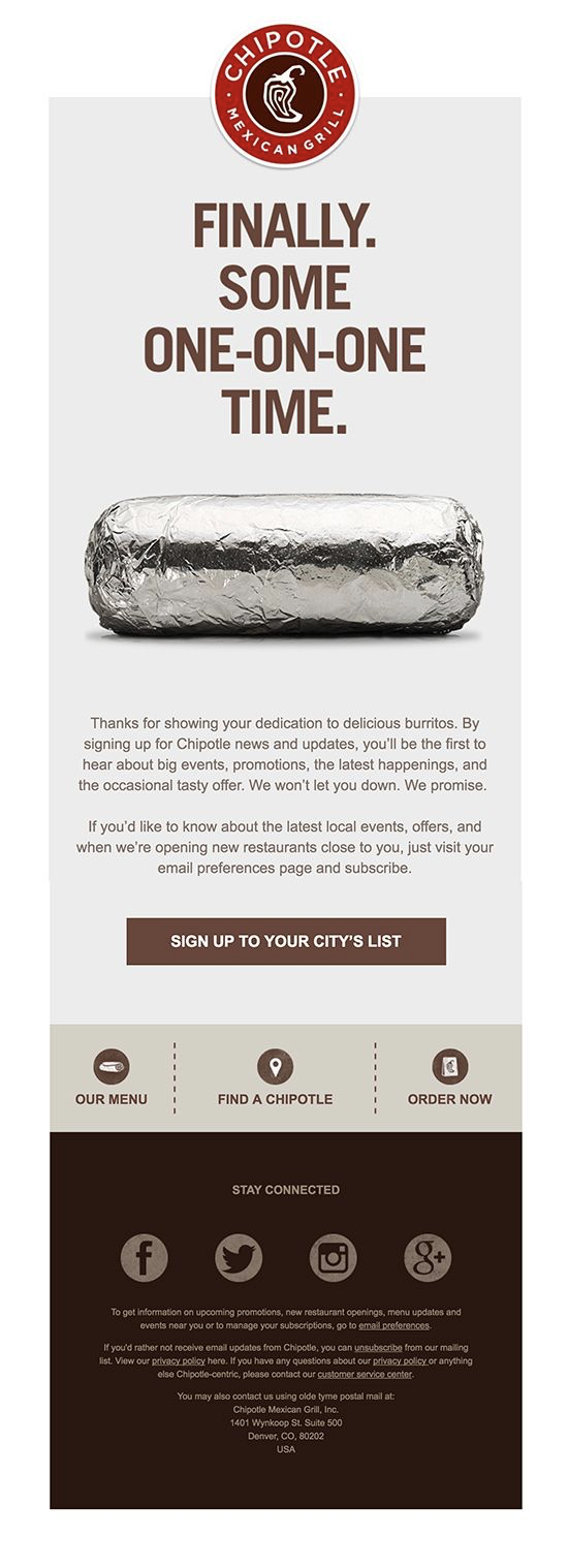 Chipotle Sign up to restaurant email list