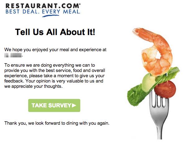 Restaurant survey email
