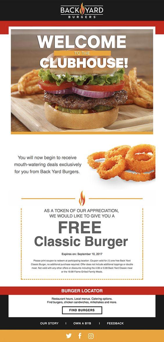 Backyard Burgers Restaurant welcome email