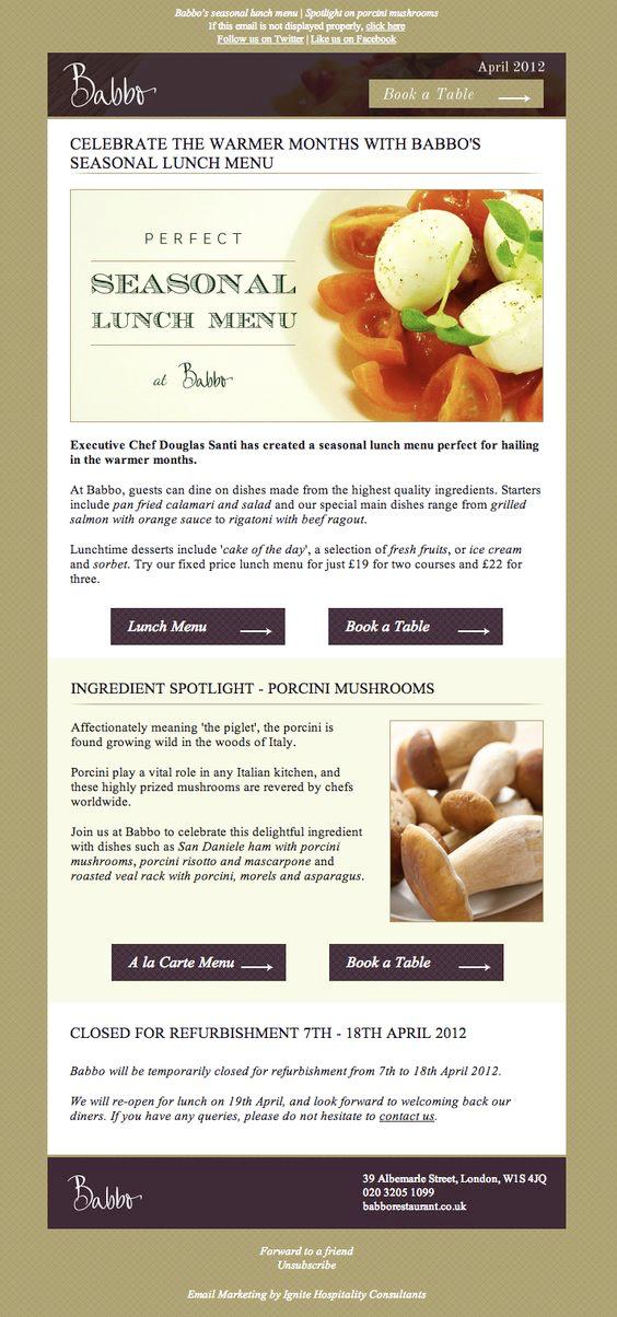 Babbo Restaurant email marketing