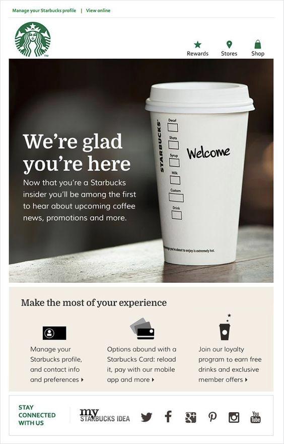 Starbucks restaurant welcome email