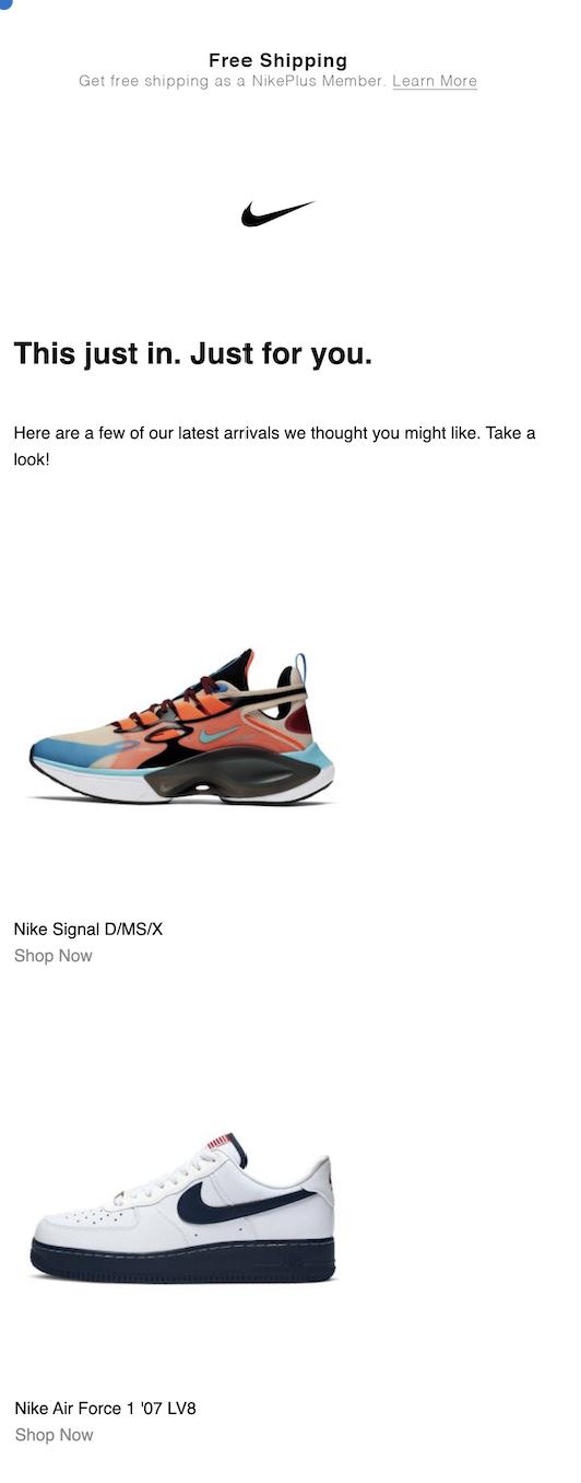 Email Marketing Nike Free shipping