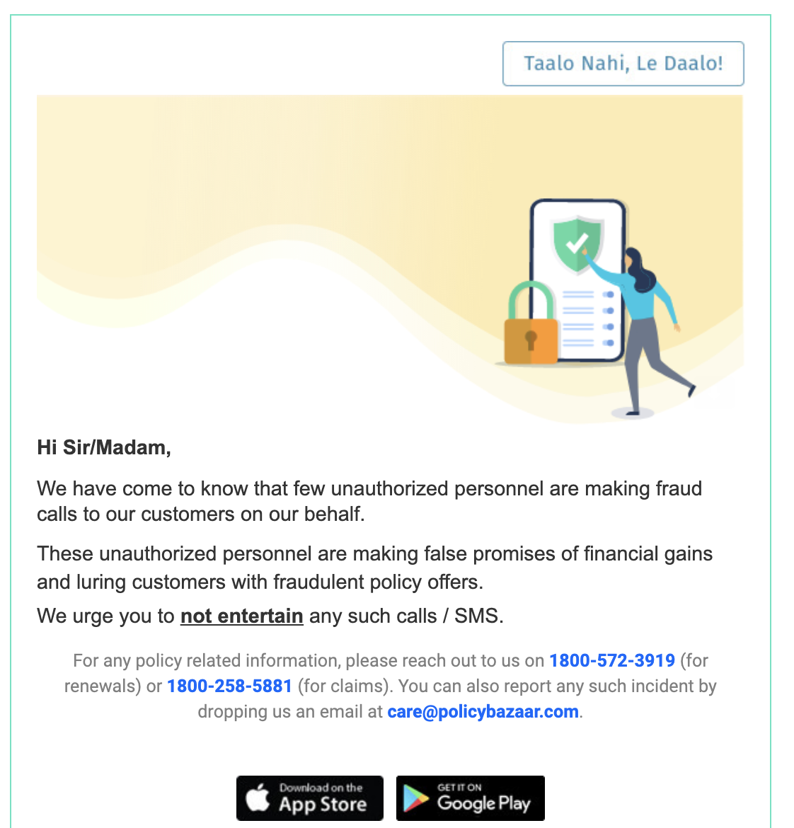 Notification Email_Policy Bazaar