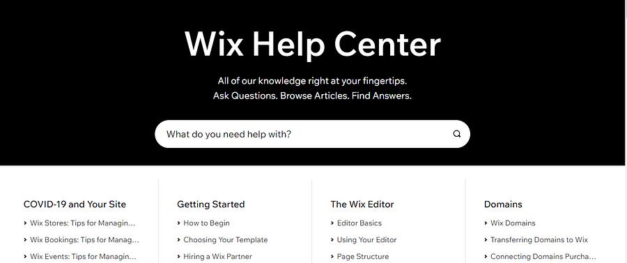 Wix online help center
