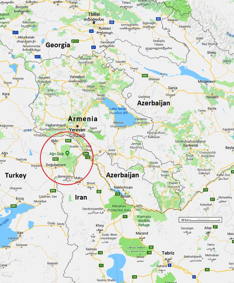 Mt Ararat Map Climbing Mount Ararat: Borders, bears and rockets   A Maverick