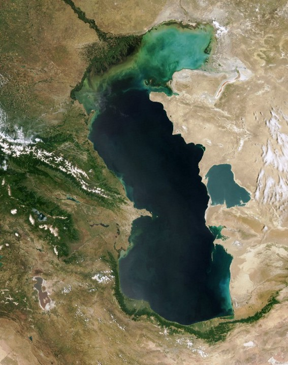 vertical view of the Caspian Sea from space