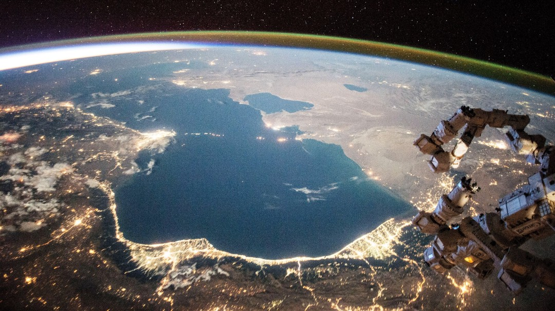 NASA image of southern shores of the Caspian Sea from space,at dusk