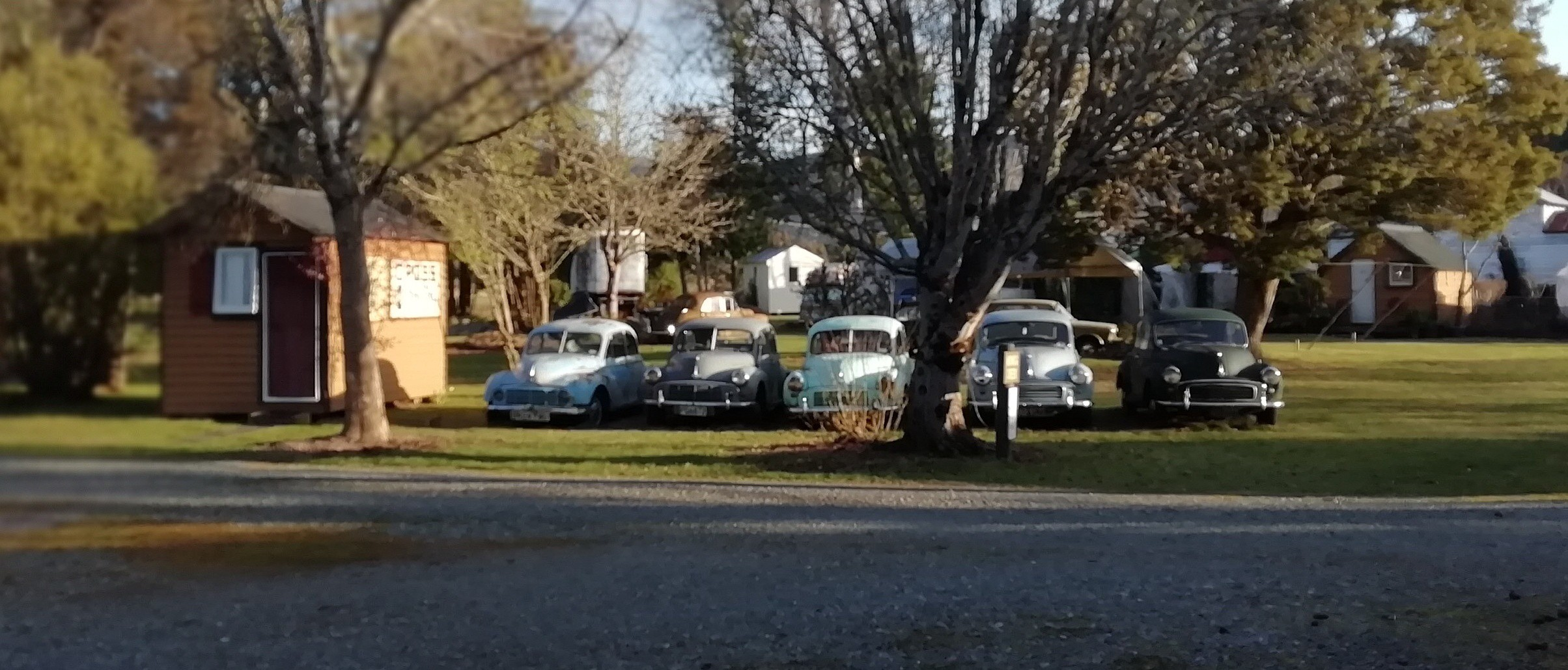 A row of Morris Minor cars