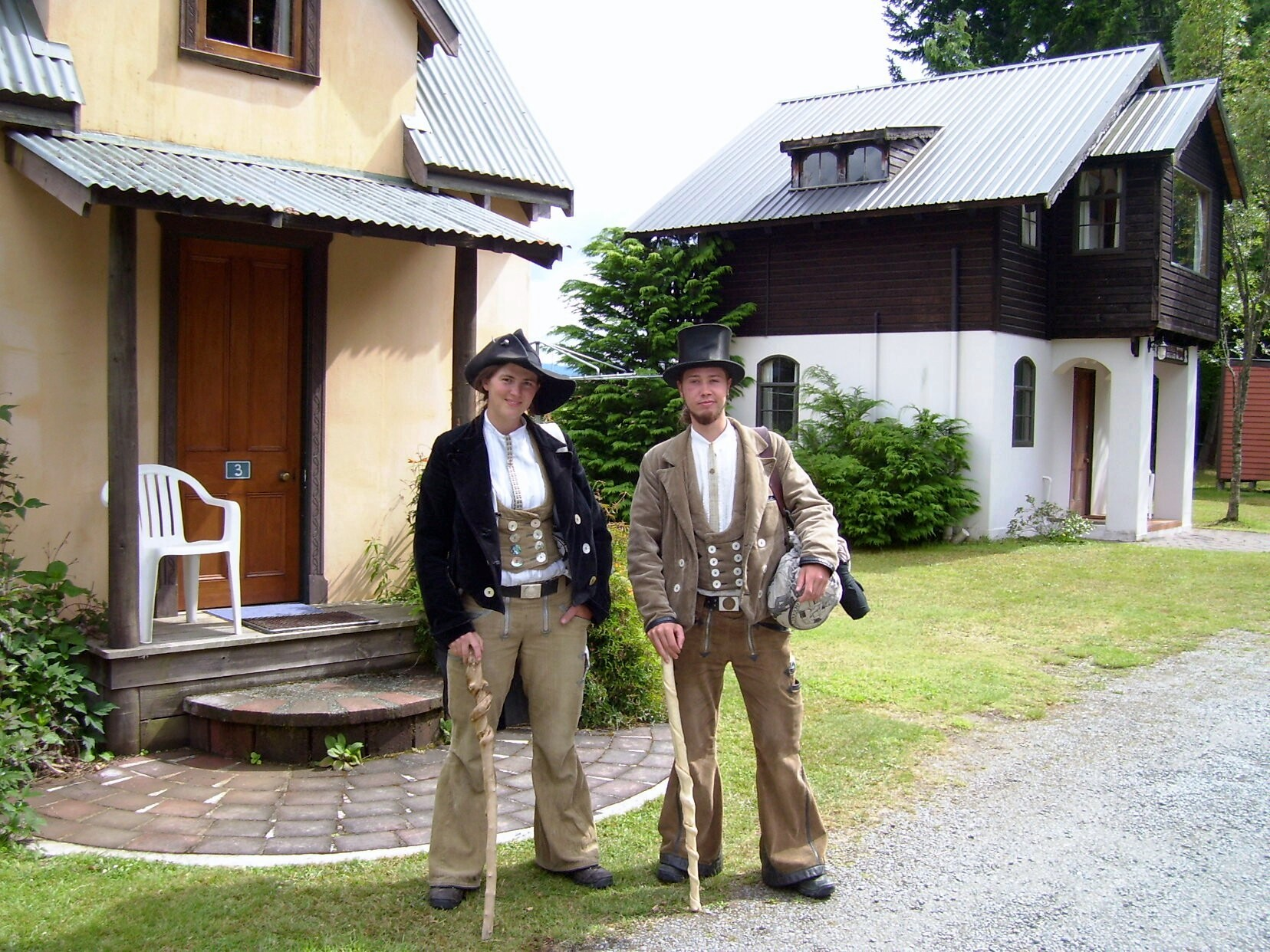 Two German apprentices in guild costume at the camp