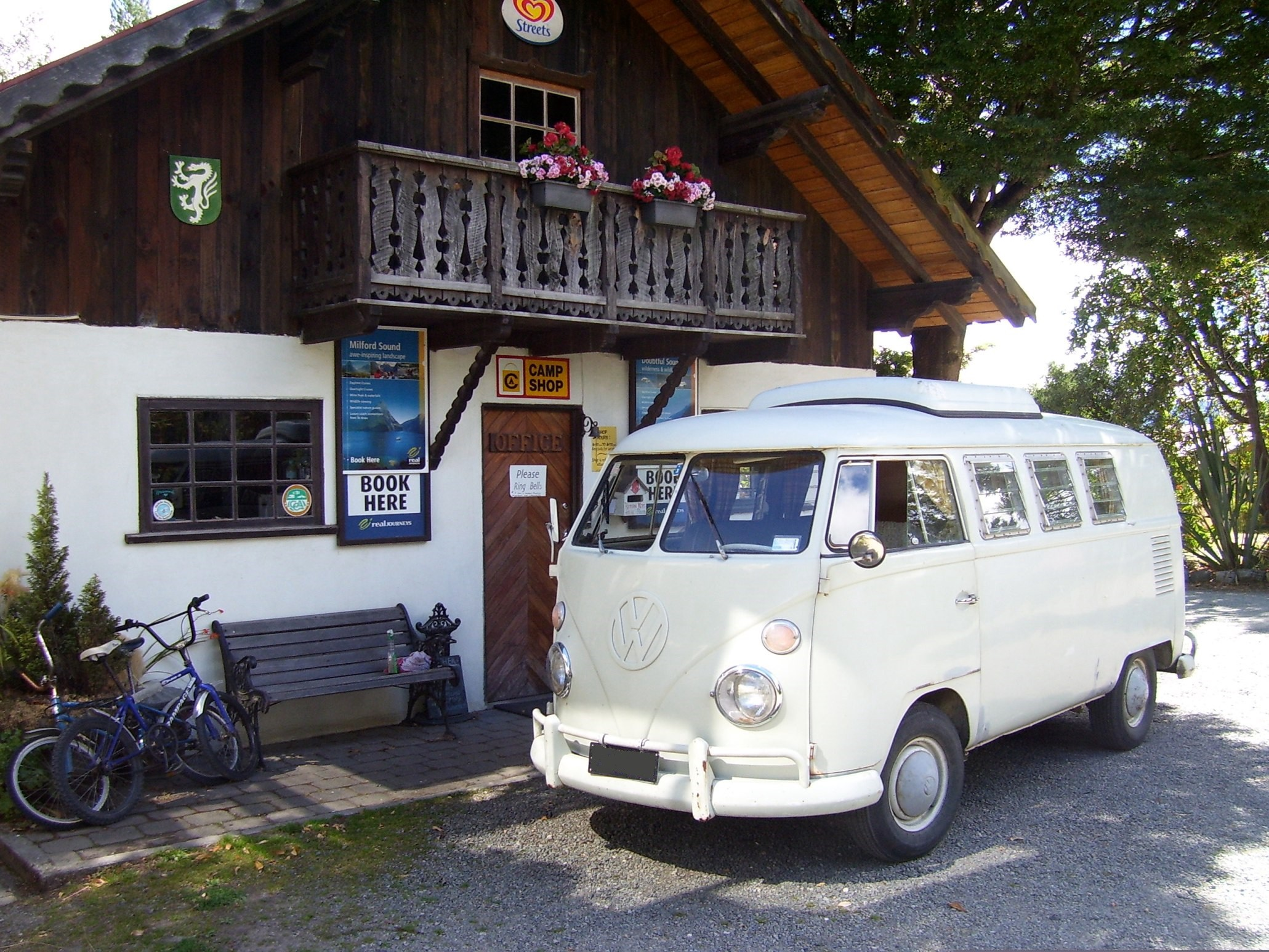 The camp office with the old 1966 Kombi van