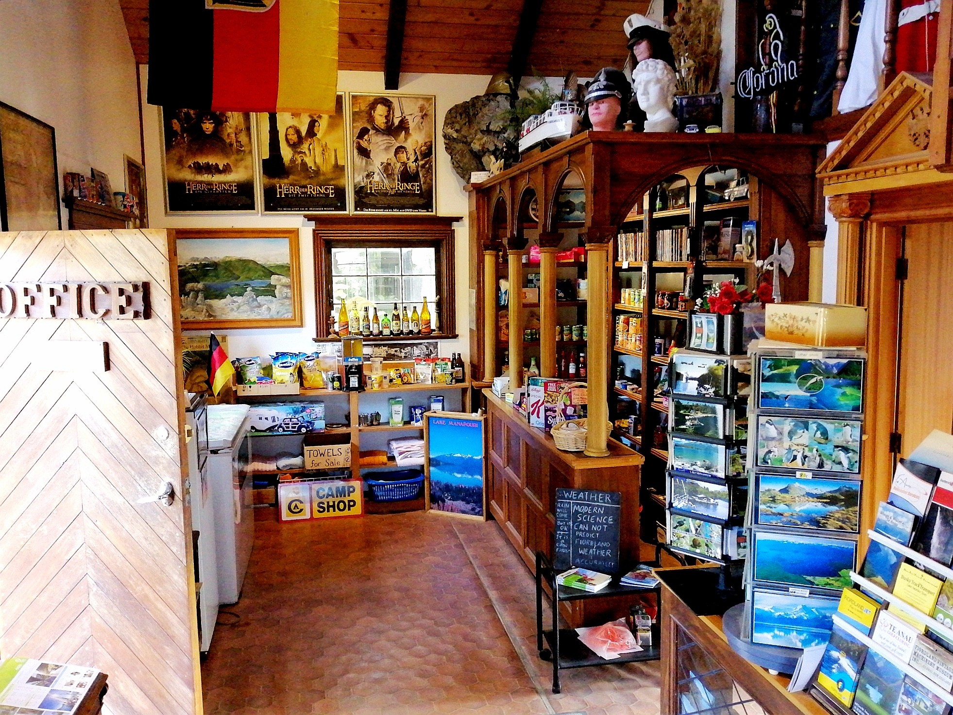 Photograph of the interior of the camp shop