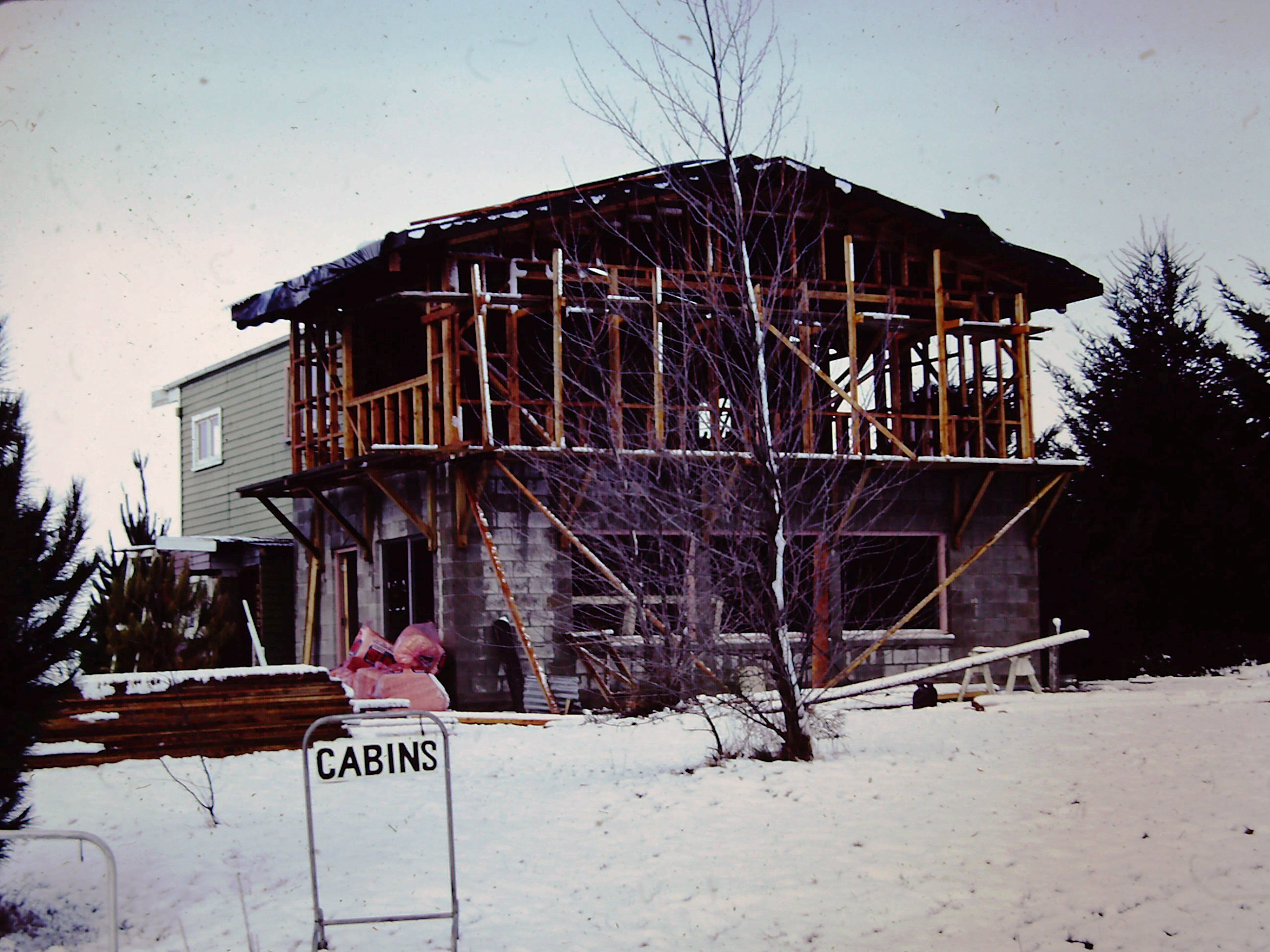 1970s photograph of camp office under construction