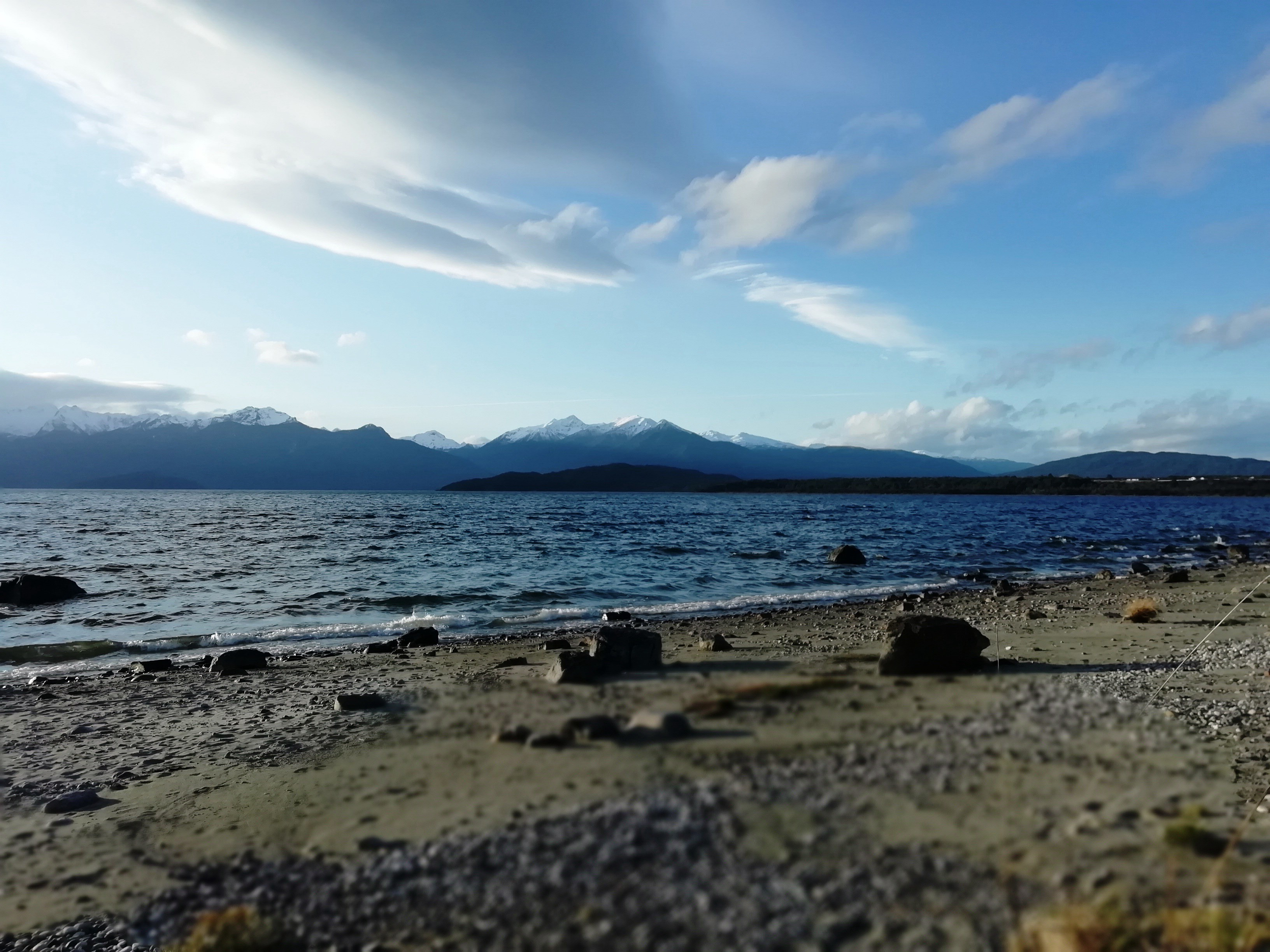 View of the Kepler Mountains behind the lake, from Manapōuri township