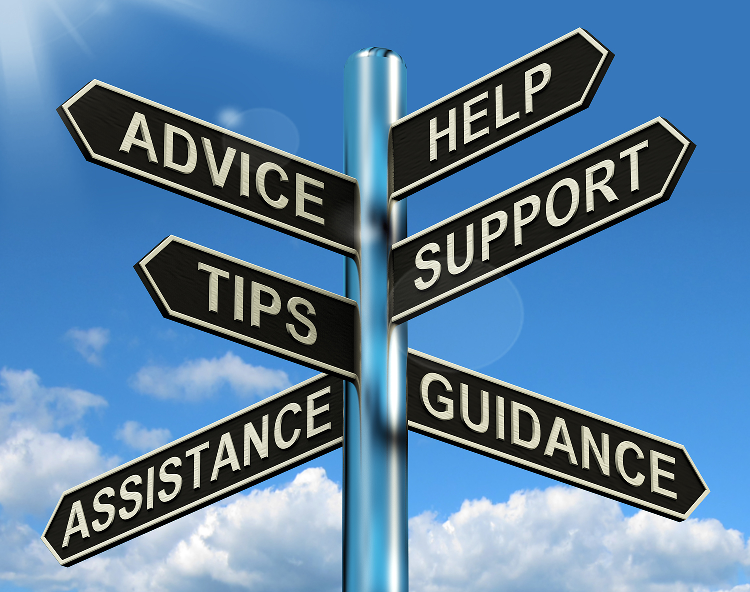 directional road sign pointing to advice, tips, help, support