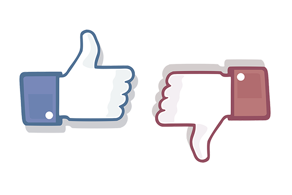 blue facebook thumbs up graphic, red thumbs down graphic