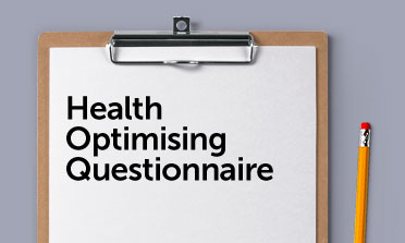 Health Optimising questionnaire form mockup