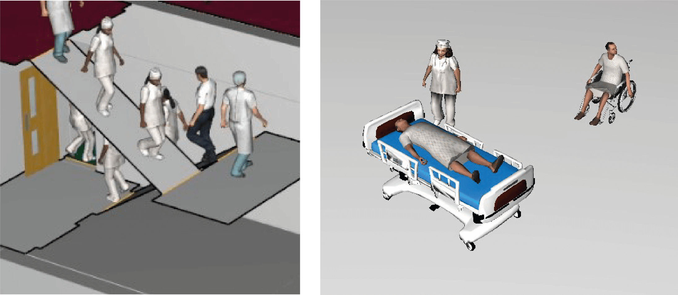 The figure shows indicative evacuation simulation outputs from software Pathfinder™.