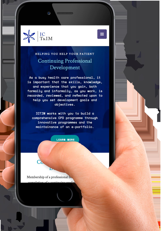 Herbal medcine practitioner looking at ICTIM Degree of Herbal medicine online  with image of ICTIM Website on Phone, Rich Blue Background