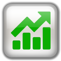 White and Green growing profit icon