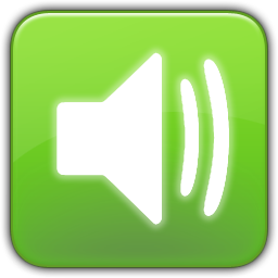 green and white icon showing sound on
