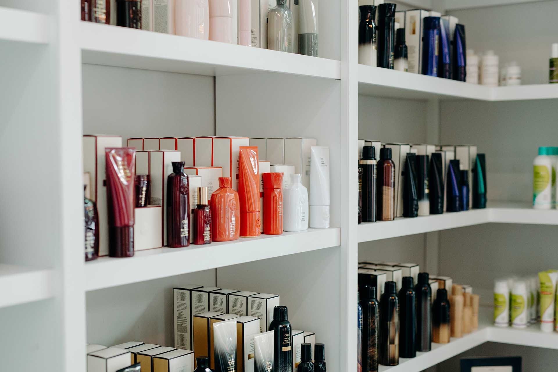 Shelf of retail hair products