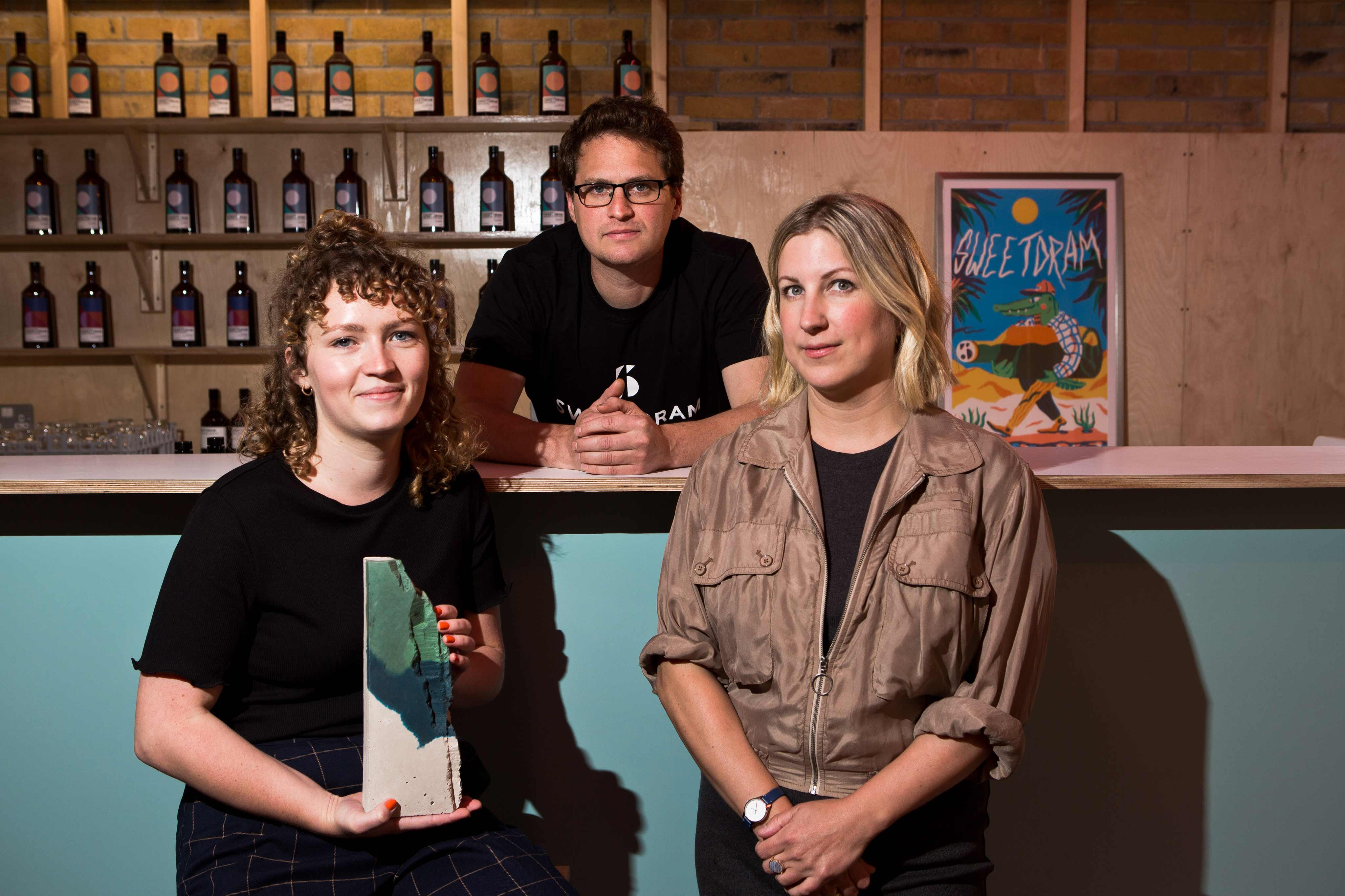 Emma McDowall, designer; Daniel Fisher, Co-founder of Sweetdram; Stacey Hunter, Director of Local Heroes. Photo: Eoin Carey.