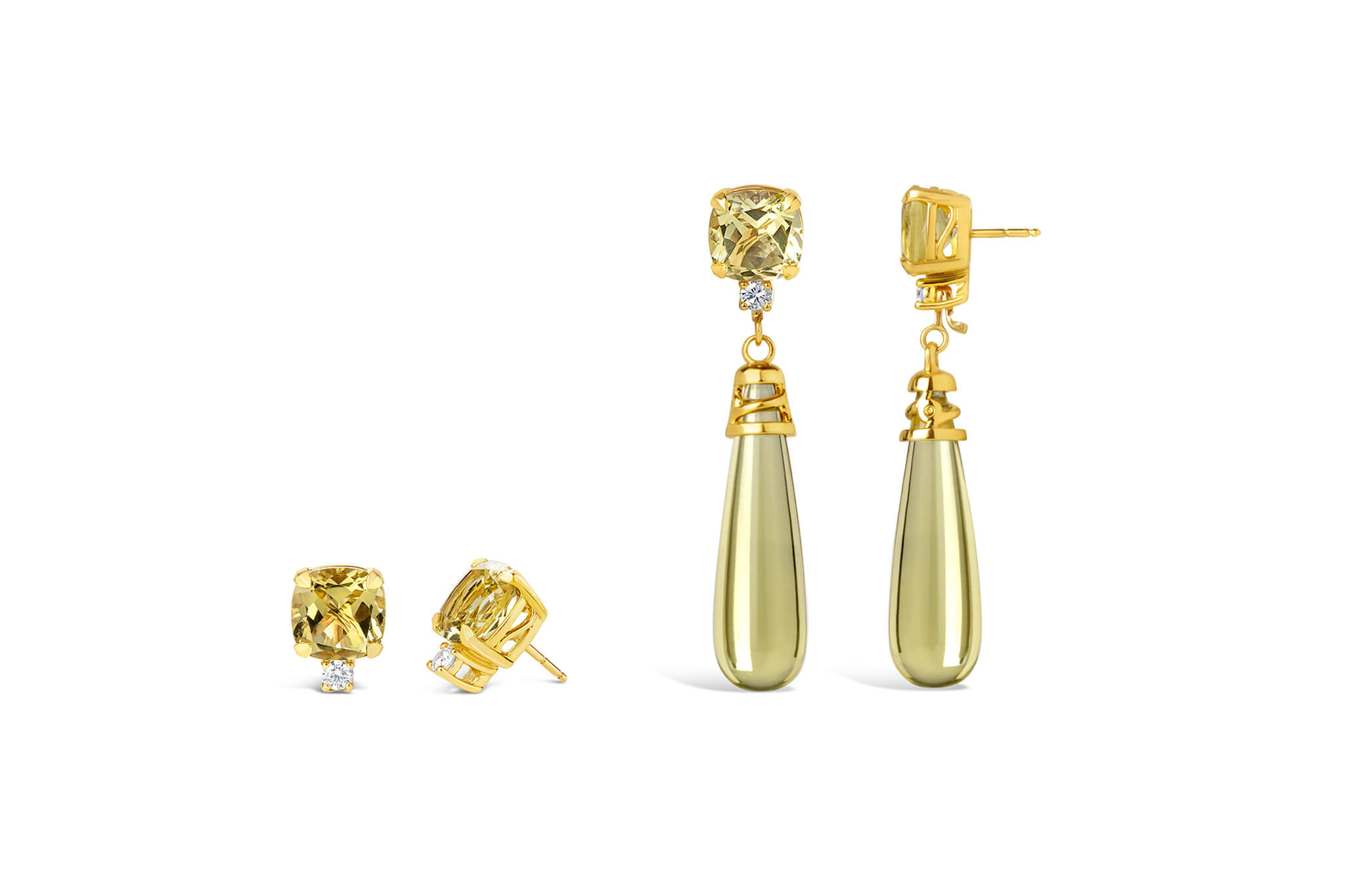 Moira Patience Jewellery - Diamond and Lemon Quartz Earrings