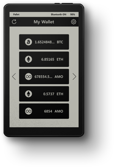 Cryptocurrency hardware wallet that is black and white with two buttons at the top. It has smooth and sexy design with a classic E-ink display that provides a longer and lasting battery. The hardware wallet made by Penta Security Systems is the world's first cryptocurrency hardware wallet that has blootooth and near field communication function and provides wireless charger. It contains the most secure crpyto chip. The crpytocurrency hardware wallet provides most secure security with combination of technology. The combination of quantum number generator and physical unclonable function disables even a super quantum computer to hack into a wallet. So it is impossible to hack Pallet black hardware wallet.